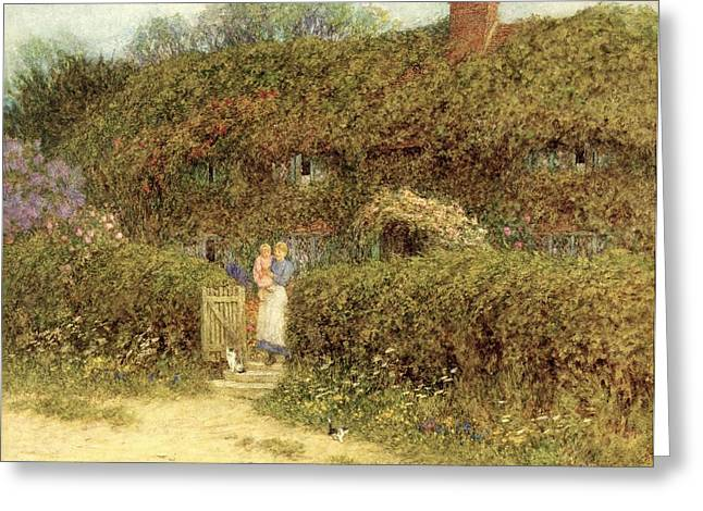 Wights Greeting Cards - A Cottage at Freshwater Isle of Wight Greeting Card by Helen Allingham