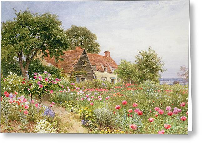 Sky Greeting Cards - A Cottage Garden Greeting Card by Henry Sutton Palmer