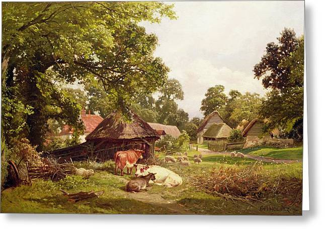 Surrey Greeting Cards - A Cottage Home in Surrey Greeting Card by Edward Henry Holder
