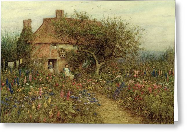 Surrey Greeting Cards - A Cottage near Brook Witley Surrey Greeting Card by Helen Allingham