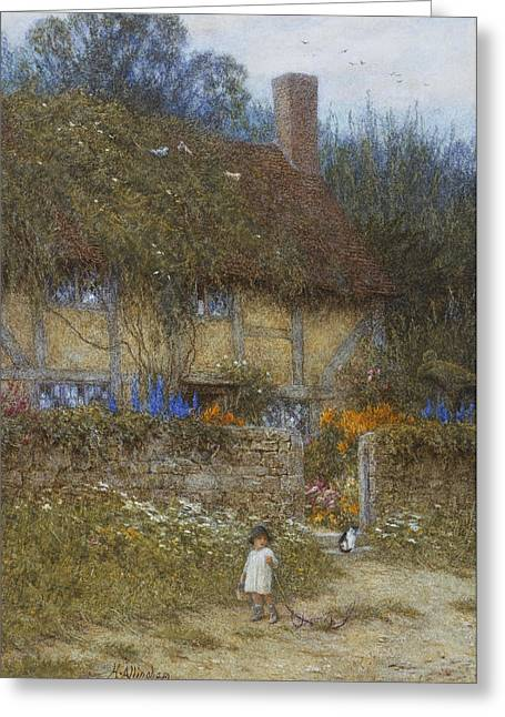 Boundaries Greeting Cards - A Cottage near Godalming Surrey Greeting Card by Helen Allingham