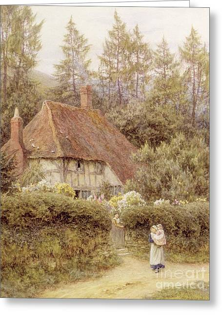 Half-timbered Greeting Cards - A Cottage near Haslemere Greeting Card by Helen Allingham