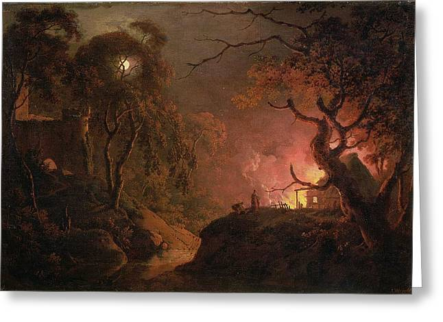 Nocturnal Greeting Cards - A Cottage on Fire at Night Greeting Card by Joseph Wright of Derby