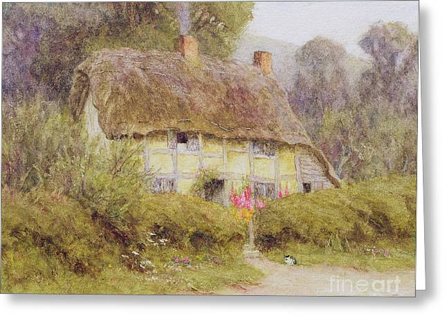 Thatch Greeting Cards - A Country Cottage Greeting Card by Helen Allingham