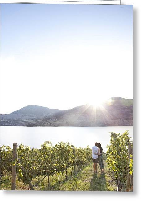 Penticton Greeting Cards - A Couple Hugs In The Afternoon Sun Greeting Card by Taylor S. Kennedy