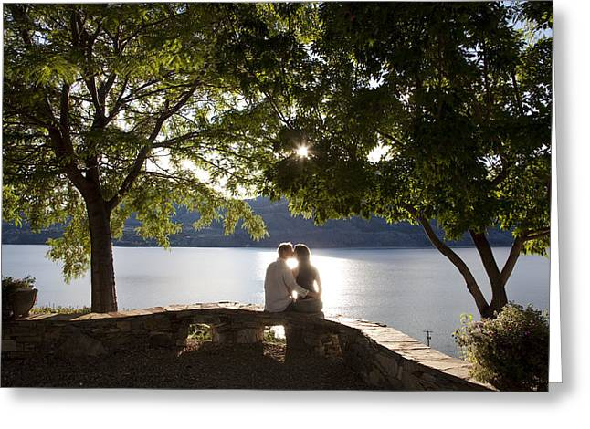 Penticton Greeting Cards - A Couple Kisses At An Overlook Greeting Card by Taylor S. Kennedy