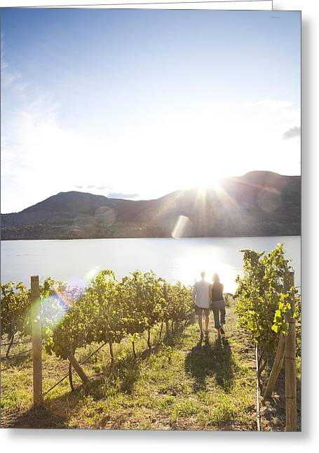 Penticton Greeting Cards - A Couple Walks In The Afternoon Sun Greeting Card by Taylor S. Kennedy