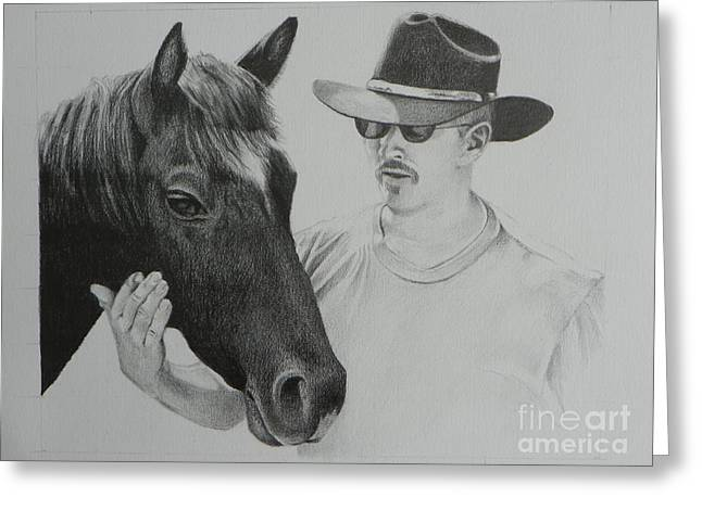Mediterranean Landscape Drawings Greeting Cards - A Cowboy and His Horse Greeting Card by David Ackerson