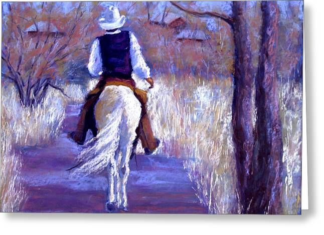 Fall Grass Pastels Greeting Cards - A Cowboy Going Home Greeting Card by Cheryl Whitehall