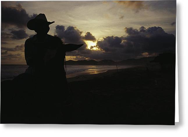 Cowgirl And Cowboy Greeting Cards - A Cowboy On His Horse Enjoys Sunrise Greeting Card by Raul Touzon