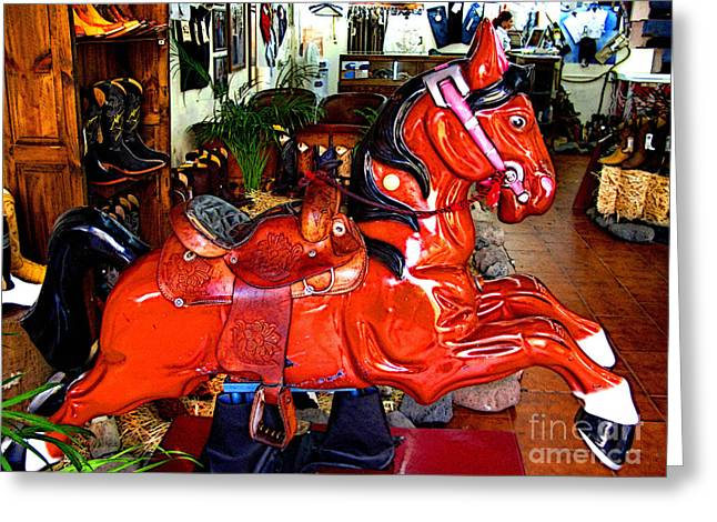 Best Sellers -  - Toy Shop Greeting Cards - A Cowboys Horse Greeting Card by Olden Mexico