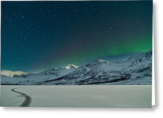 Photographing Aurora Greeting Cards - A crack in the ice Greeting Card by Frank Olsen