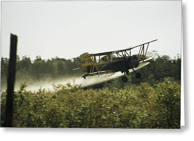 New Jersey Pine Barrens Greeting Cards - A Crop Dusting Airplane Flys Low Greeting Card by Bill Curtsinger