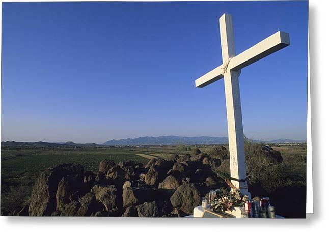 San Juan Bautista Greeting Cards - A Cross On A Hill Near The San Xavier Greeting Card by Rich Reid