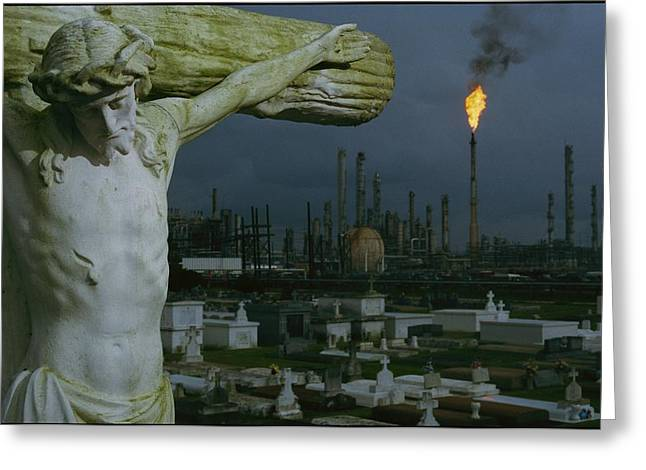 Industrial Concept Greeting Cards - A Crucifixion Statue In Holy Rosary Greeting Card by Joel Sartore