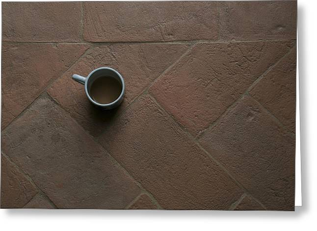 A Cup Of Coffee Sits On A Tuscan Villa Greeting Card by Heather Perry