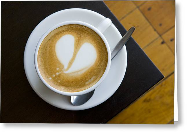 A Cup Of Coffee With A Heart Design Greeting Card by Bill Hatcher