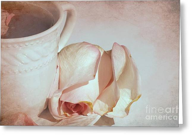Tea Rose Greeting Cards - A Cup of Tea and a Rose Greeting Card by Sophie Vigneault