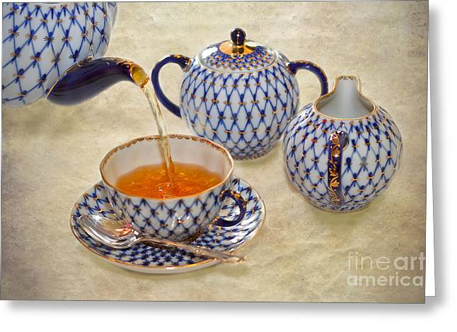 Pouring Digital Art Greeting Cards - A CUP OF TEA Tea being poured into a china cup Greeting Card by Louise Heusinkveld
