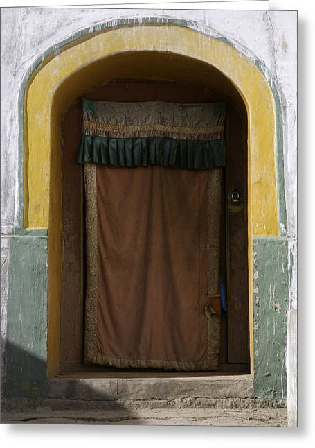 Art Of Building Greeting Cards - A Curtained Entrance To A Monastery Greeting Card by David Evans