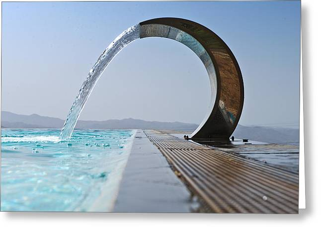 Product Photographs Greeting Cards - A Curved Stainless Steel Water Fountain Greeting Card by Corepics