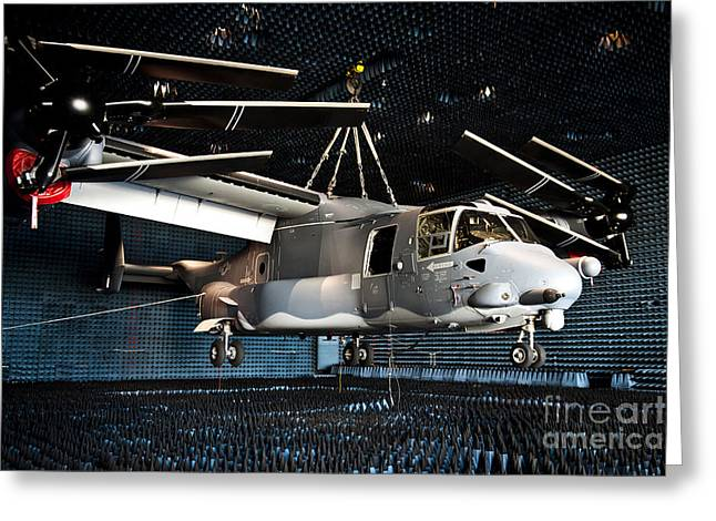 A Cv-22 Osprey Hangs In A Anechoic Greeting Card by Stocktrek Images