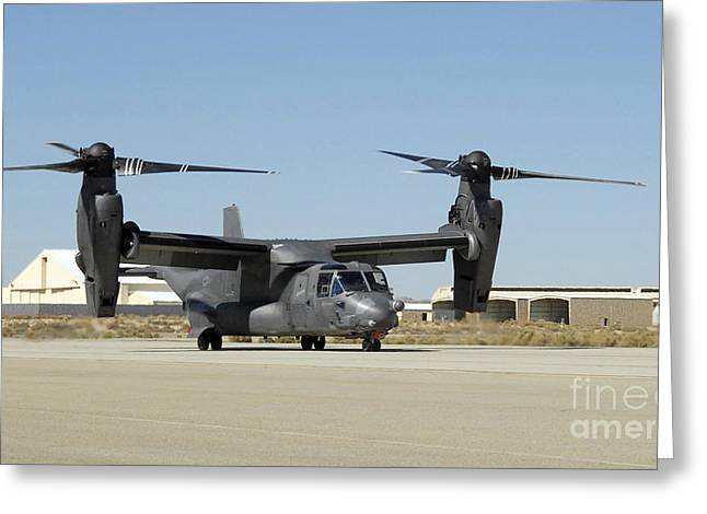 Airbase Greeting Cards - A Cv-22 Osprey Prepares For Take-off Greeting Card by Stocktrek Images