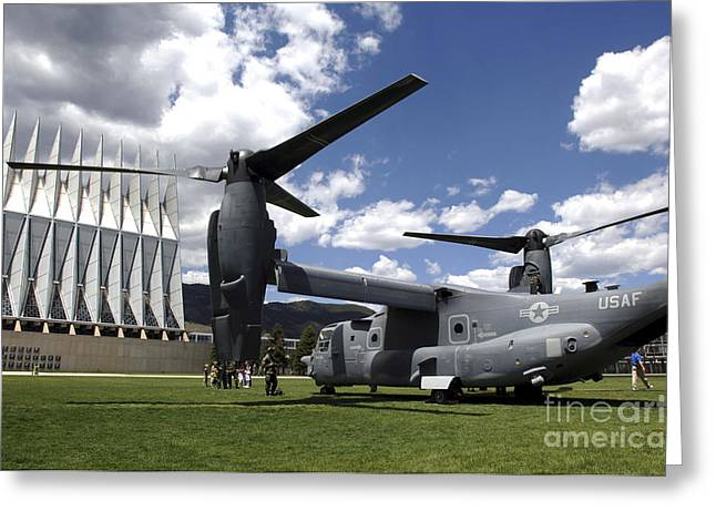 A Cv-22 Osprey Sits On Display Greeting Card by Stocktrek Images