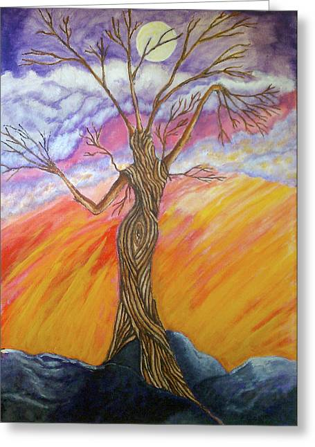 Ent Greeting Cards - A Dance With Moon and Sun Greeting Card by Janice T Keller-Kimball