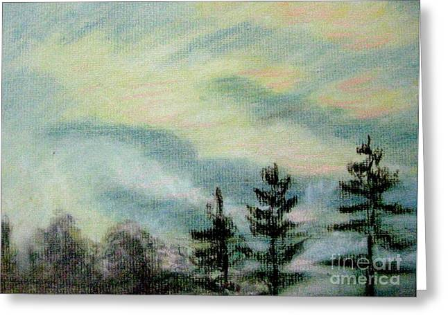 Tree Lines Pastels Greeting Cards - A Dancers Sky Greeting Card by Gretchen Allen