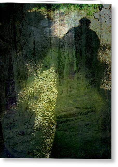 Eerie Greeting Cards - A Dark Presence Greeting Card by Shirley Sirois