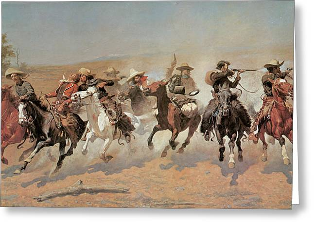 American Cowboy Artist Greeting Cards - A Dash for the Timber Greeting Card by Frederic Remington