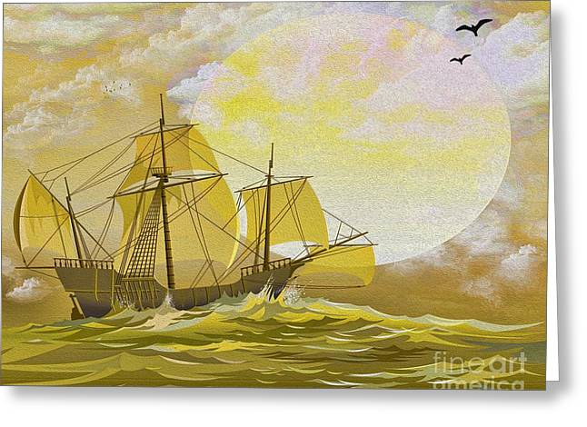 Old Ship Art Greeting Cards - A Day at Sea Greeting Card by Cheryl Young