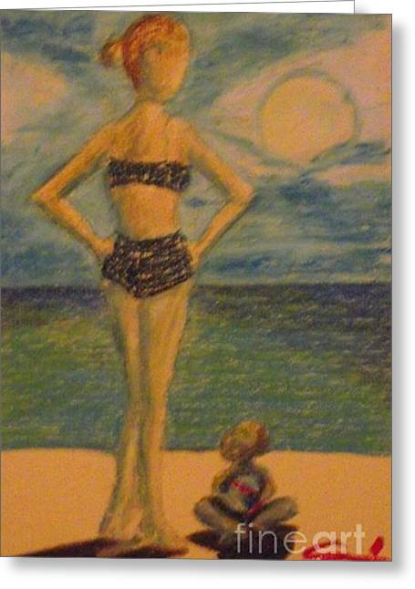 People Pastels Greeting Cards - A day at the beach Greeting Card by Edward Smith