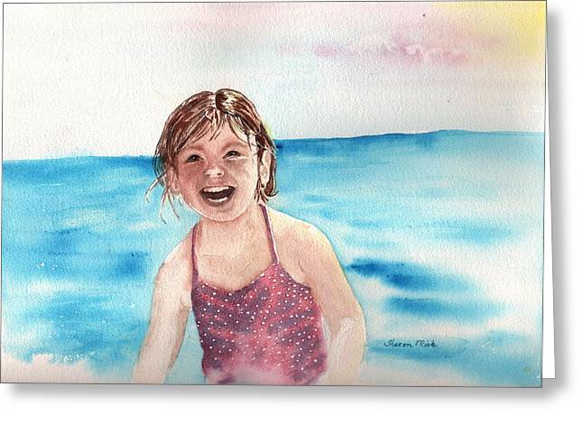 A Day At The Beach Makes Everyone Smile Greeting Card by Sharon Mick