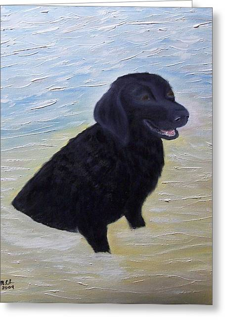 Black Labrador Retreiver Greeting Cards - A day at the Beach Greeting Card by Marie Lamoureaux
