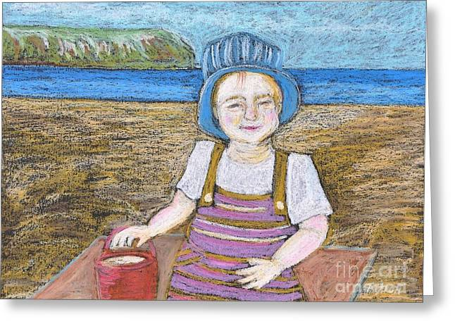 Ocean Scenes Pastels Greeting Cards - A Day at The Beach Greeting Card by Reb Frost