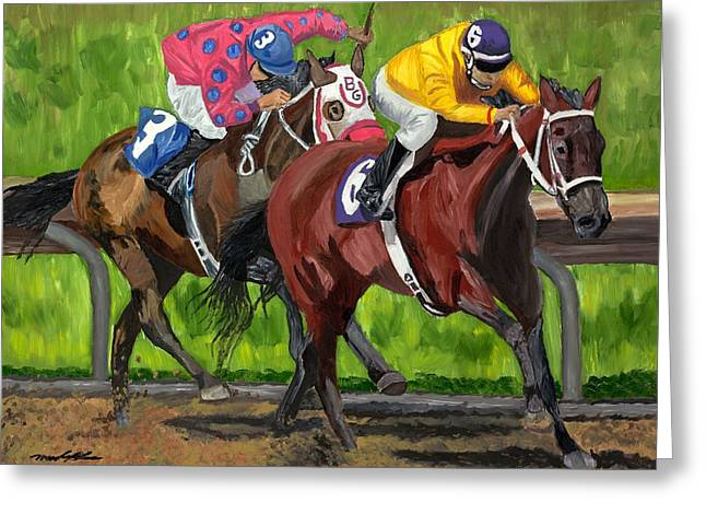 Horse Racing Prints Greeting Cards - A Day At The Races Greeting Card by Michael Lee
