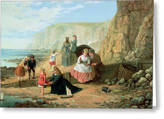 Cliffs Paintings Greeting Cards - A Day at the Seaside Greeting Card by William Scott