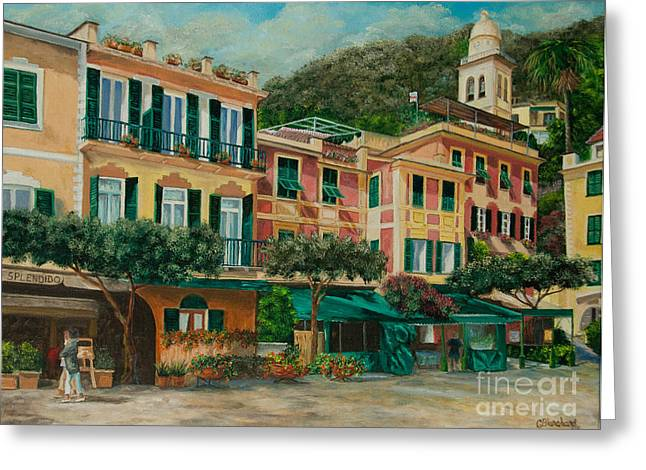 Portofino Italy Art Greeting Cards - A Day in Portofino Greeting Card by Charlotte Blanchard
