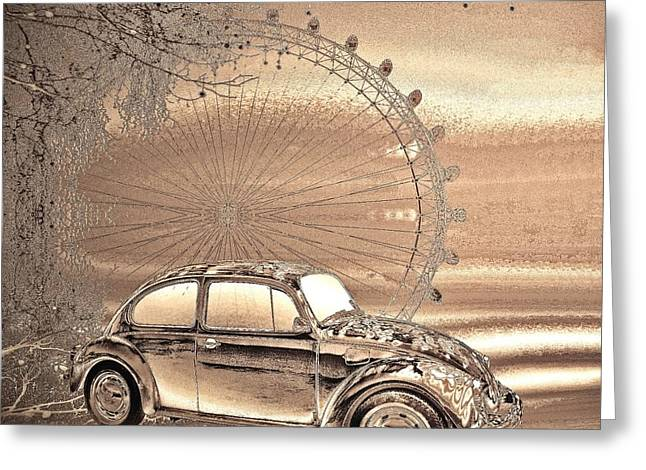 Vw Beetle Greeting Cards - A day in the City Greeting Card by Sharon Lisa Clarke