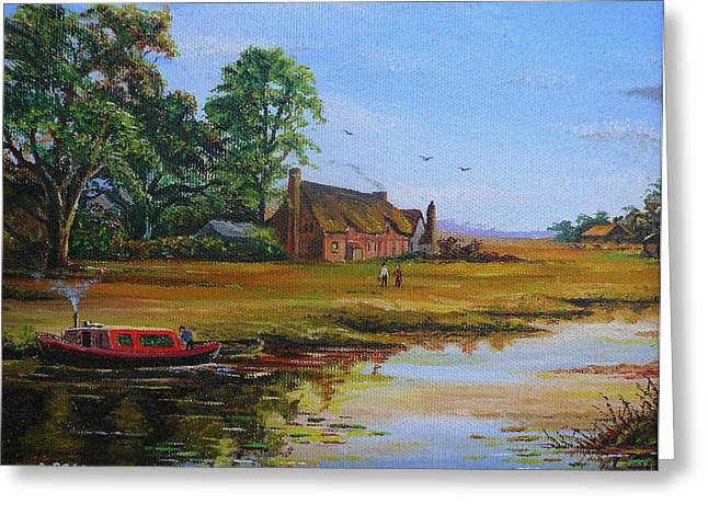 Quiet Read Greeting Cards - A Day on the Canal Greeting Card by Andrew Read