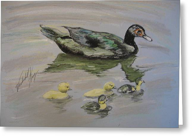 Ducklings Pastels Greeting Cards - A day on the pond Greeting Card by Vanderbill King