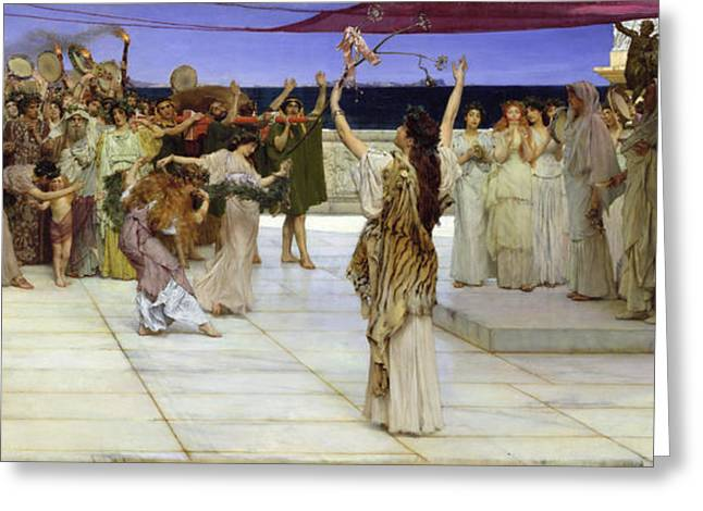 Altars Greeting Cards - A Dedication to Bacchus Greeting Card by Sir Lawrence Alma Tadema