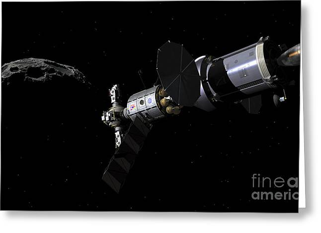 Approach Digital Art Greeting Cards - A Deep Space Mission Vehicle Greeting Card by Walter Myers