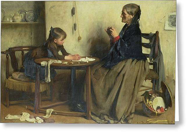 Granddaughter Greeting Cards - A Difficulty Greeting Card by Arthur Hacker