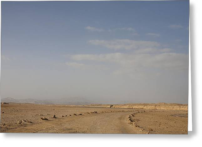 Sinai Mountain Greeting Cards - A Dirt Road Stretches To The Horizon Greeting Card by Taylor S. Kennedy