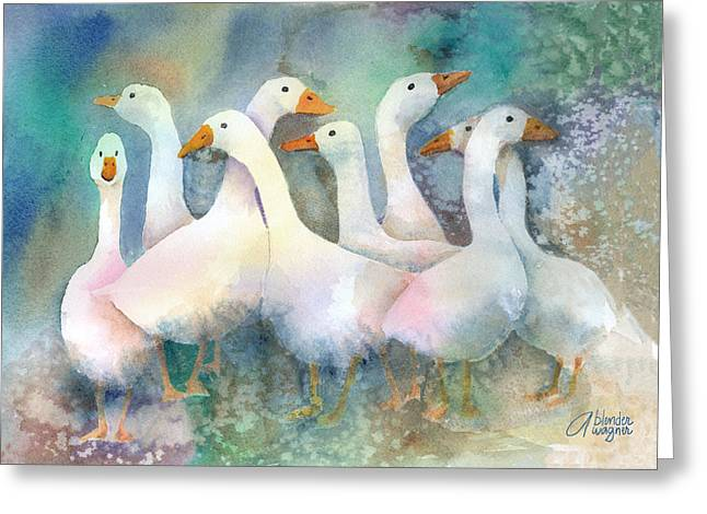 A Disorderly Group Of Geese Greeting Card by Arline Wagner