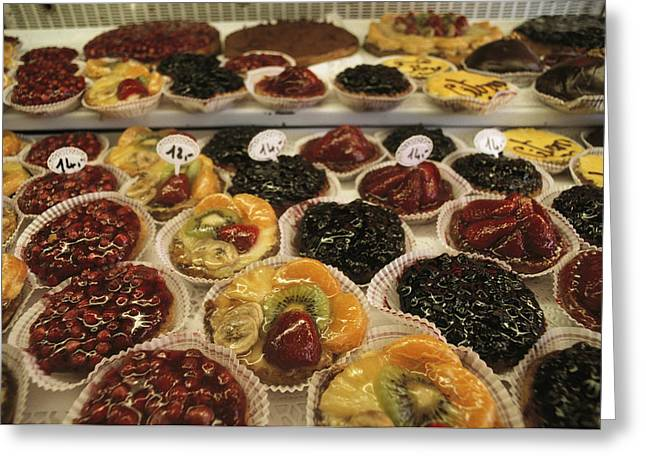 A Display Case Full Of Fruit Pastries Greeting Card by Gordon Wiltsie