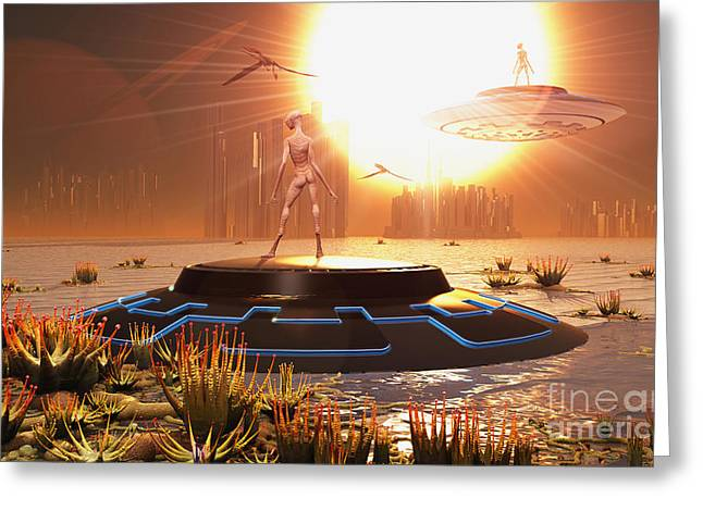 Fantasy World Greeting Cards - A Distant Alien World That Orbits Close Greeting Card by Mark Stevenson